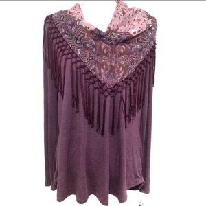 Style & Co Detachable Scarf Long Sleeve Top